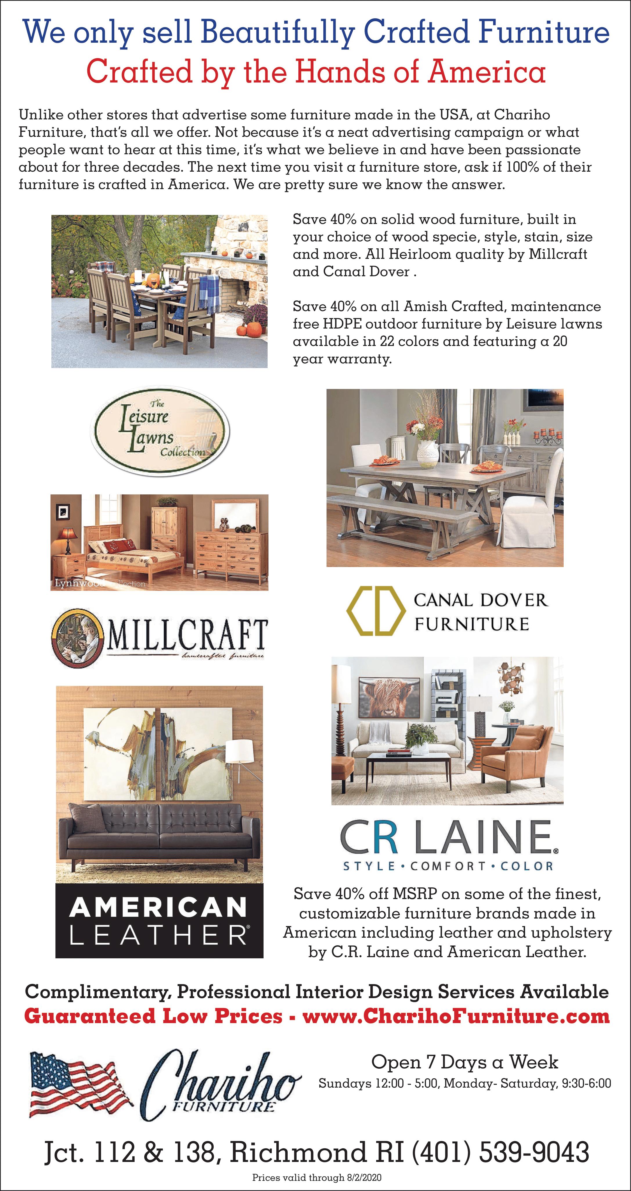 Chariho Furniture July ad 2020
